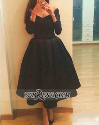 Modern Off-shoulder Long Sleeve Black Prom Dress UK With Tea Length_1