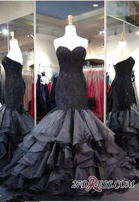 Modern Black Sweetheart Sweep-Train Ruffles Sleeveless Lace-up Evening Gown_2