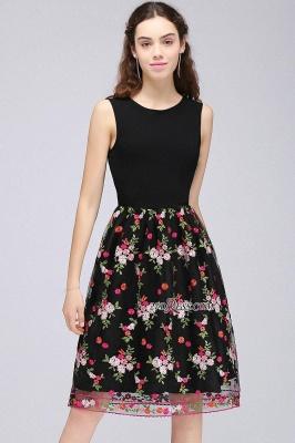 Sleeveless Short A-Line Tulle Black Flowers Homecoming Dress UKes UK_6