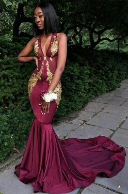 Burgundy V-Neck Prom Dress UK, Mermaid Evening Dress UK BA8082_1