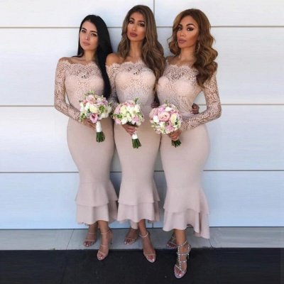 Hot Sale Long Sleeve Bridesmaid Dress UK | Lace Maid of Honor Dress UK_3