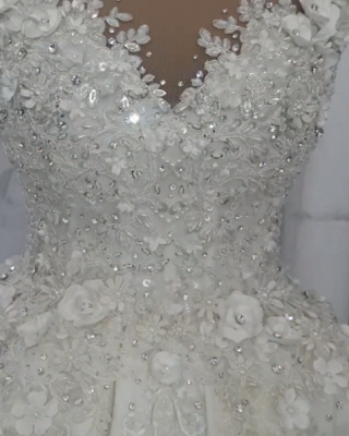 Gorgeous Ball Gown Wedding Dresses UK Off-the-Shoulder Floral Beads Bridal Gowns_3