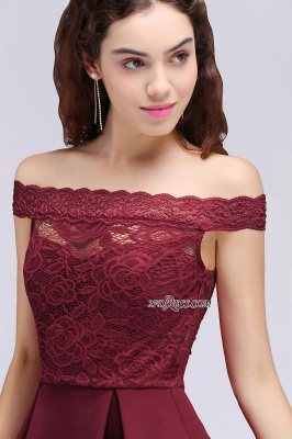 Burgundy Lace A-Line Short Off-the-Shoulder Homecoming Dress UKes UK_4