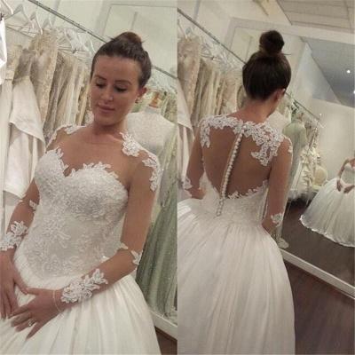 Elegant Lace Appliques Tulle Wedding Dress Button Zipper Back_3