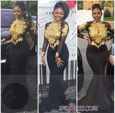 High-Neck Sexy Gold-Appliques Backless Long-Sleeves Prom Dress UKes UK BA4987_1