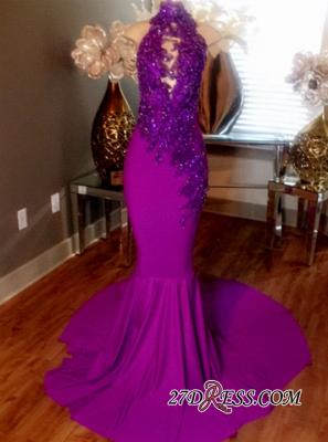 Mermaid Sleeveless Prom Dress UK Lace-Appliques Evening Dress UKes UK Beaded High-Neck Court Train CC0009_2