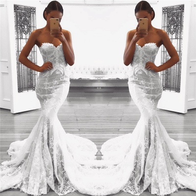 Sexy Mermaid Lace Wedding Dresses UK with Court Train | Strapless Cheap Bridal Gowns_3