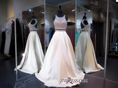 Elegant Jewel Two-Piece Beads Zipper Sleeveless A-line Prom Dress UK_1