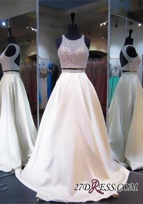 Elegant Jewel Two-Piece Beads Zipper Sleeveless A-line Prom Dress UK_3