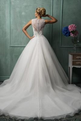 Timeless Illusion Princess Wedding Dress Lace Zipper Button Back_2
