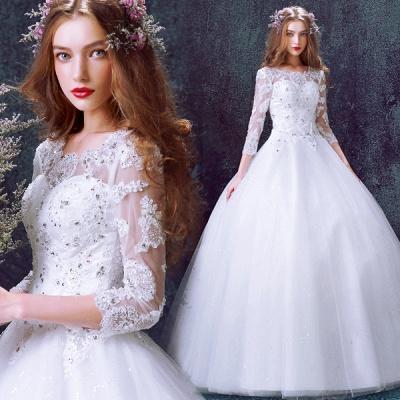 Romantic Tulle Lace Beadss Wedding Dress 3/4-Long Sleeve Princess_3