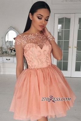 Appliques Gorgeous Short Long-Sleeves A-Line Homecoming Dress UK_3