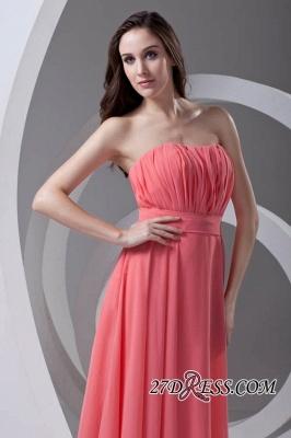 Chiffon Long Watermelon Ruched Strapless Sexy Bridesmaid Dress UK_3