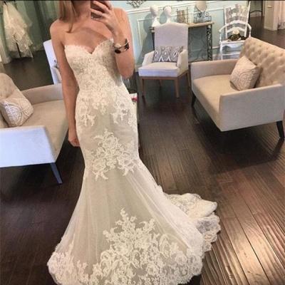 Pretty Sweetheart Lace Wedding Dresses UK Sexy Mermaid Tulle Sheer Skirt_3