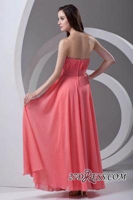 Chiffon Long Watermelon Ruched Strapless Sexy Bridesmaid Dress UK_4