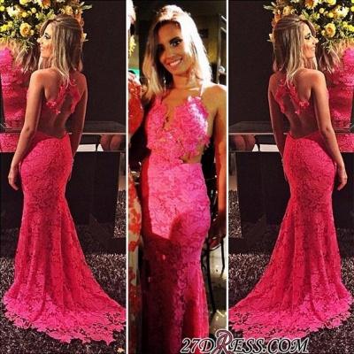 Red Sleeveless Open-Back Elegant Mermaid Lace Prom Dress UKes UK BA6677_1
