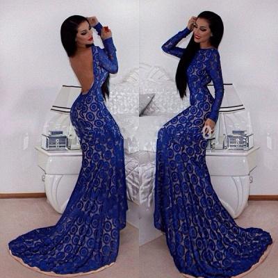 Gorgeous Long Sleeve Blue Prom Dress UKes UK Mermaid Lace Open Back_3