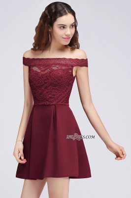 Burgundy Lace A-Line Short Off-the-Shoulder Homecoming Dress UKes UK_6