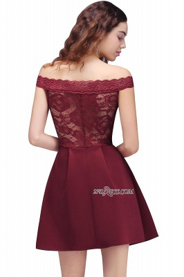Burgundy Lace A-Line Short Off-the-Shoulder Homecoming Dress UKes UK_3