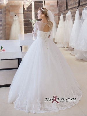 Stunning Lace-Up Princess Floor-Length Half-Sleeve Lace Wedding Dress_1