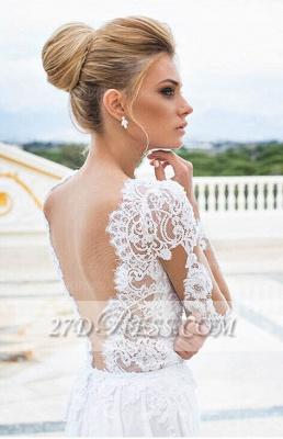 White Lace  Wedding Dresses UK V-Neck Side Slit Long Sleeve Bridal Gowns_2