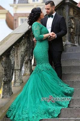 Court-Train Mermaid Newest Tulle Appliques V-Neck Prom Dress UK BA4275_3