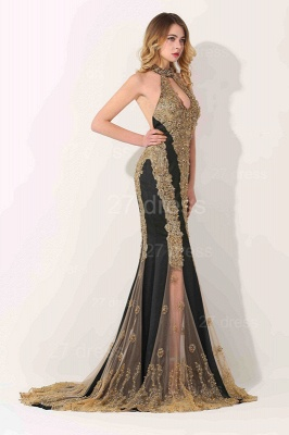 Gorgeous High-Neck Backless Evening Dress UK Mermaid With Appliques Beadings_2