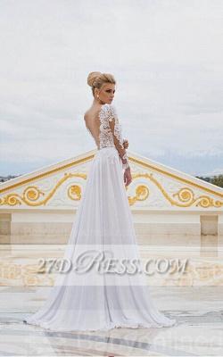 White Lace  Wedding Dresses UK V-Neck Side Slit Long Sleeve Bridal Gowns_3