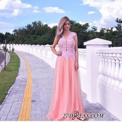 V-neck A-line Appliques-lace Tull Sweep-train Sleeveless Evening Dress UK_2
