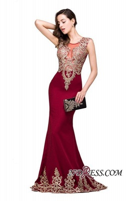 Appliques Sleeveless Lace Mermaid Sheer-Back Burgundy Long Evening Dress UKes UK_1