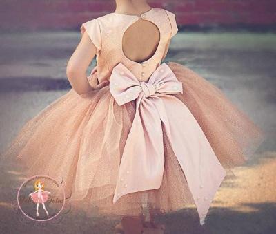 Lovely Cap Sleeve Tulle Princess Flower Girl Dress Bowknot_5