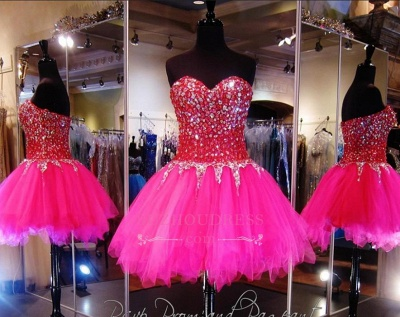 Tulle Mini A-Line Sweethehart Gorgeous Beadings Homecoming Dress UKes UK_1