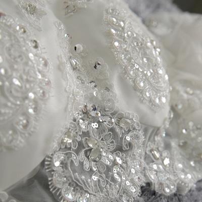 Romantic Tulle Lace Beadss Wedding Dress 3/4-Long Sleeve Princess_5