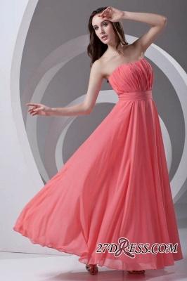 Chiffon Long Watermelon Ruched Strapless Sexy Bridesmaid Dress UK_6