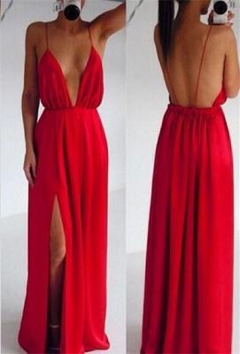 Elegant Red Spaghetti Straps Prom Dress UK Long Deep V-Neck_1