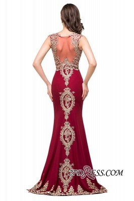 Appliques Sleeveless Lace Mermaid Sheer-Back Burgundy Long Evening Dress UKes UK_2