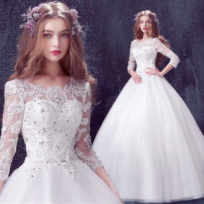Romantic Tulle Lace Beadss Wedding Dress 3/4-Long Sleeve Princess_4