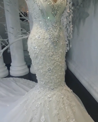 Glamorous Sexy Mermaid Sleeveless Wedding Dresses UK Floral Appliques Bridal Gowns with Crystals_5