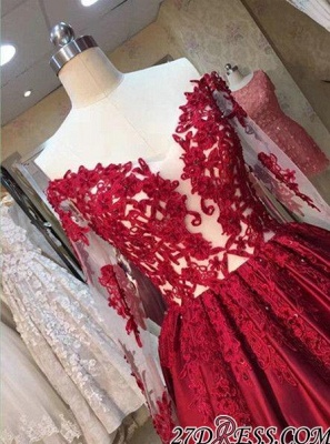 Lace-Appliques Off-the-Shoulder Puffy Red Long-Sleeves Prom Dress UKes UK BA5004_2