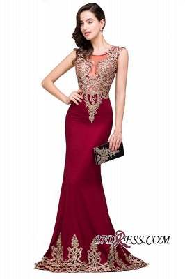 Appliques Sleeveless Lace Mermaid Sheer-Back Burgundy Long Evening Dress UKes UK_4