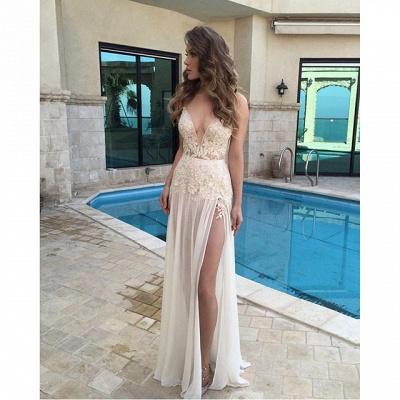 Elegant V-Neck Sleeveless Long Prom Dress UK Chiffon With Slit BA3781_3
