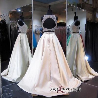 Elegant Jewel Two-Piece Beads Zipper Sleeveless A-line Prom Dress UK_2