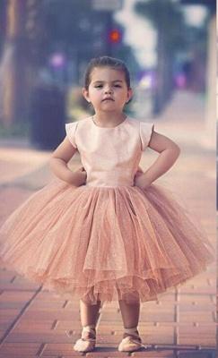 Lovely Cap Sleeve Tulle Princess Flower Girl Dress Bowknot_1