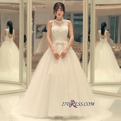 Sweep-train Elegant A-line Bow Lace-up Sleeveless Wedding Dress_2