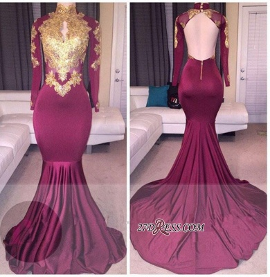 High-Neck Sexy Gold-Appliques Backless Long-Sleeves Prom Dress UKes UK BA4987_2