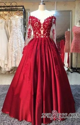 Lace-Appliques Off-the-Shoulder Puffy Red Long-Sleeves Prom Dress UKes UK BA5004_1