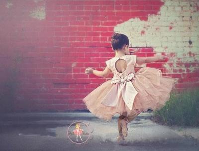 Lovely Cap Sleeve Tulle Princess Flower Girl Dress Bowknot_2