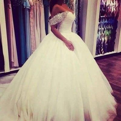 Elegant Tulle Ball Gown Wedding Dress Off-the-shoulder Crystals BA3316_3