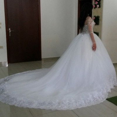 Newest Crystals Tulle Lace Illusion Wedding Dress Long Sleeve Ball Gown_2