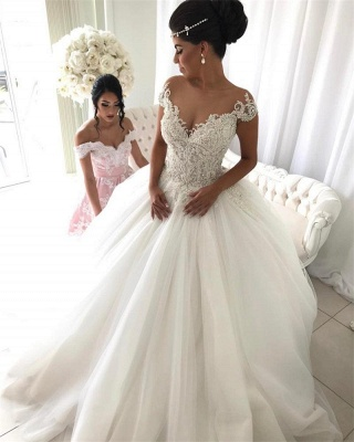 Princess tulle wedding dress, bridal gowns with beads_1